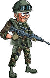 Illustratie van beeldverhaalmilitair met een geweer Royalty-vrije Stock Foto's