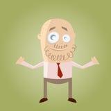 De zakenman van het beeldverhaal met baard Stock Afbeelding