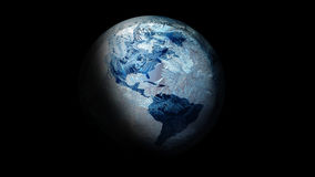 Illustratie van Bevroren Aarde in ruimte Op een zwarte achtergrond Stock Fotografie