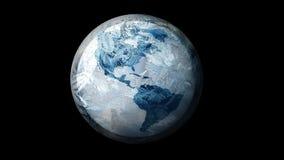 Illustratie van Bevroren Aarde in ruimte Op een zwarte achtergrond Royalty-vrije Stock Fotografie