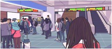 Illustratie van bezig metro, metro, ondergronds, station met mensen die, zich bevindt in lijn op platform en het inschepen auto w stock illustratie