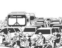 Illustratie van bezig spitsuurverkeer met motorfietsen, auto's, bussen, openbaar vervoer vector illustratie