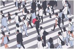 Illustratie van bezige stadsmenigte die zebra in perspectief kruisen stock illustratie