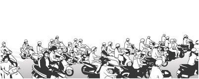 Illustratie van bezige straat met motorenbromfietsen en motorfietsen in perspectief en zwart-wit stock illustratie