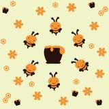 Illustratie van bijen rond een honeypot Stock Afbeeldingen
