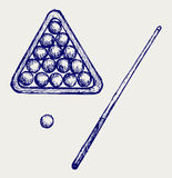 Illustratie van billardrichtsnoeren en ballen Stock Foto