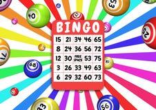 De kaart en de ballen van Bingo Royalty-vrije Stock Afbeeldingen