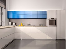 Illustratie van binnenland van moderne keuken Stock Foto