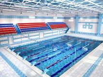 Illustratie van binnenland van openbaar zwembad vector illustratie