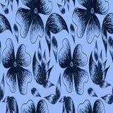 Illustratie van bladeren en bloemen in donkerblauwe colore worden geschilderd die royalty-vrije illustratie