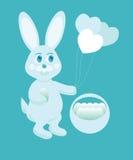 Illustratie van blauw Pasen konijntje Royalty-vrije Stock Afbeelding