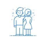 illustratie van blauw pictogram in vlakke lijnstijl Lineair blauw leuk en gelukkig jongen en meisje Stock Afbeelding