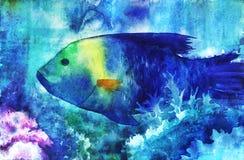 Illustratie van blauwe vissen Stock Afbeeldingen