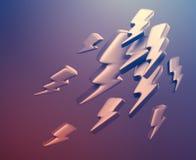 Illustratie van bliksemsymbolen het 3d teruggeven Stock Foto