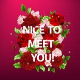 Illustratie van bloemen met van letters voorzien aardig om u te ontmoeten Royalty-vrije Stock Foto's
