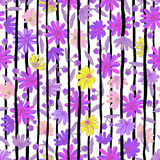 Illustratie van bloemen naadloos Kleurrijke bloemen met Stock Afbeeldingen