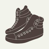 Illustratie van bruine tennisschoenen op beige achtergrond Royalty-vrije Illustratie