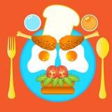 Illustratie van buitensporig ontbijt voor jong geitje Stock Afbeeldingen