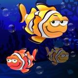 Illustratie van clownfish onder het overzees Stock Foto