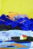 Illustratie van collage van bergen en overzees huis vector illustratie