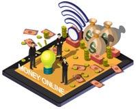 Illustratie van concept van het informatie het grafische online geld Royalty-vrije Stock Foto