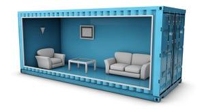 Illustratie van Containerhuis Hergebruikscontainer voor de bouw van huizen Stock Foto's