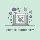 Illustratie van Cryptocurrency als Alternatieve Digitale Munt Stock Foto