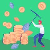 Illustratie van Cryptocurrency van de mensenmijnbouw de Vlakke Vector royalty-vrije illustratie