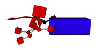 Illustratie van 3d rode de kubusvlieg die van karaktersuperhero een blauwe kubus dragen Stock Foto