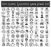 Illustratie van de bedrijfspictogrammen de vector vastgestelde hand getrokken kunst royalty-vrije illustratie