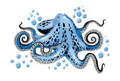 Illustratie van de beeldverhaal skye de blauwe die octopus op witte illustratie wordt geïsoleerd als achtergrond stock illustratie