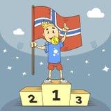 Illustratie van de beeldverhaal de vlakke kunst van de kampioen van Noorwegen met vlag in zijn hand stock illustratie