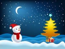 Illustratie van de boom van Kerstmis en sneeuwman Royalty-vrije Stock Afbeelding