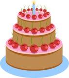 Illustratie van de Cake van de Zoete Chocoladeverjaardag Royalty-vrije Stock Afbeelding