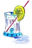 Illustratie van de cocktail in een glas Stock Afbeeldingen