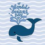 Illustratie van de dag van wereldoceanen Stock Fotografie