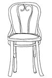 illustratie van de de lijnkunst van de stoel bentwood stoel de leuke Stock Foto