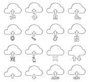 Illustratie van de de lijnkunst van het wolken de dunne pictogram vastgestelde hand getrokken vector stock illustratie