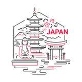 Illustratie van de de lijnreis van Japan de moderne vector Stock Afbeeldingen
