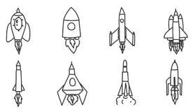 Illustratie van de de raket de hand getrokken vector vastgestelde kunst van het pictogramruimtevaartuig Stock Foto
