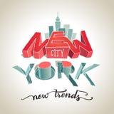 Illustratie van de de stads 3d typografie van New York Royalty-vrije Stock Foto