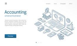 Illustratie van de financiën de moderne isometrische lijn Digitale rapport bedrijfsschets getrokken pictogrammen Boekhouding, bel royalty-vrije illustratie