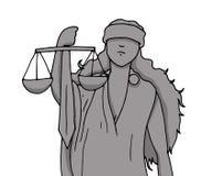 Illustratie van de Godin van Rechtvaardigheid met het symbool van het saldo en het zwaard met haar hand wordt gehouden die terwij vector illustratie