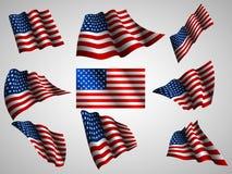 Illustratie van de golvende vlag van de V.S., geïsoleerd vlagpictogram Royalty-vrije Stock Afbeeldingen