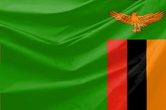 Illustratie van de Golvende Vlag van Zambia Royalty-vrije Stock Foto's