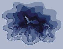 Illustratie van de haai jacht voor een vis Royalty-vrije Stock Foto's
