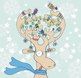 Illustratie van de herten van Kerstmis met sjaal Stock Afbeeldingen