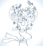 Illustratie van de herten van Kerstmis met sjaal Royalty-vrije Stock Foto