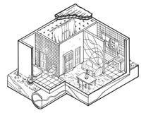 Illustratie van de huis de binnenlandse hand getrokken architectuur Stock Afbeelding