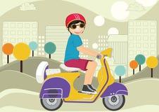 Illustratie van de jong geitje de berijdende fiets vector illustratie